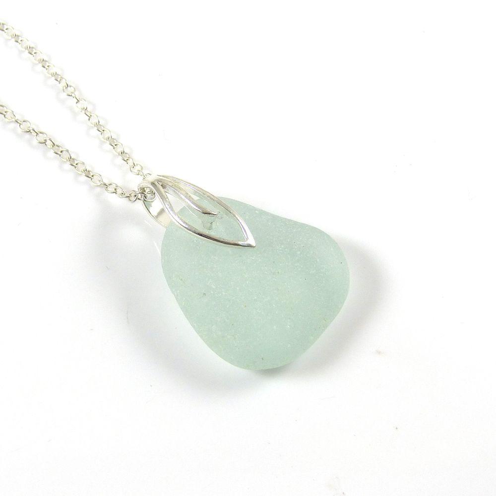 Pale Seafoam Blue Sea Glass Necklace ADALENE