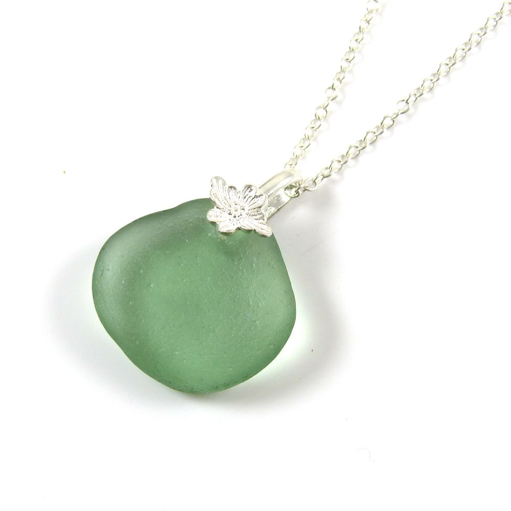 Sage Green Sea Glass Necklace CARINE