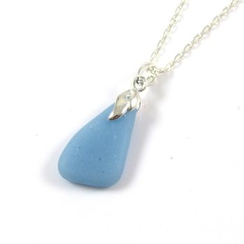 Tiny Ice Blue Sea Glass and Silver Necklace LOUISE