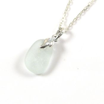 Tiny Morning Dew Sea Glass and Silver Necklace EMMA