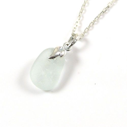 Morning Dew Sea Glass and Silver Necklace EMMA