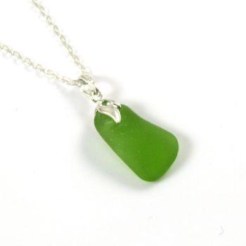 Tiny Kelly Green English Sea Glass Necklace CHLOE