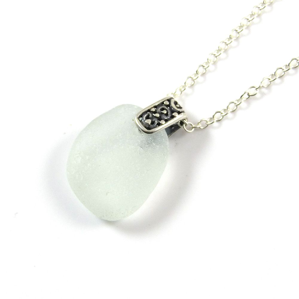 Morning Dew Sea Glass and Silver Necklace KARI