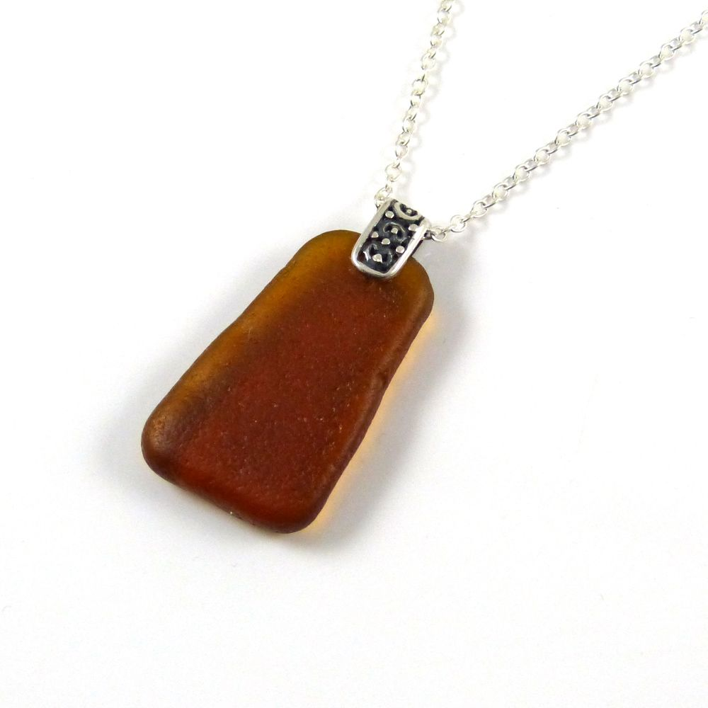 Deep Amber Sea Glass and Silver Necklace ELISA