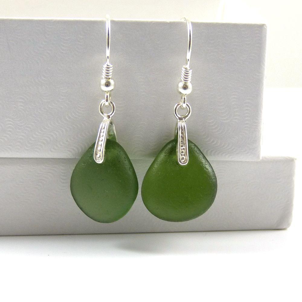 Green Sea Glass Sterling Silver Drop Earrings e77