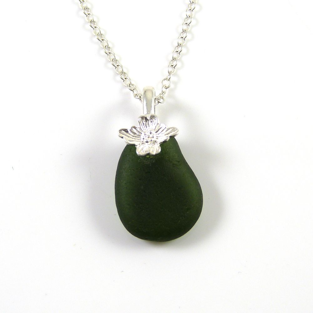 Dark Forest Green English Sea Glass Necklace RENAE