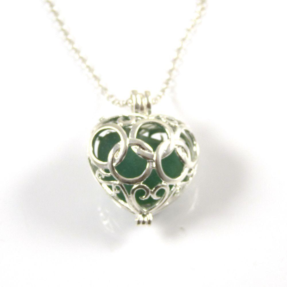Big Sea Green Sea Glass Heart Locket Necklace