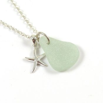 Seaspray Sea Glass and Sterling Silver Starfish Necklace ch266