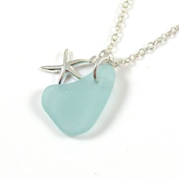 Light Aquamarine Sea Glass and Sterling Silver Starfish Necklace ch268