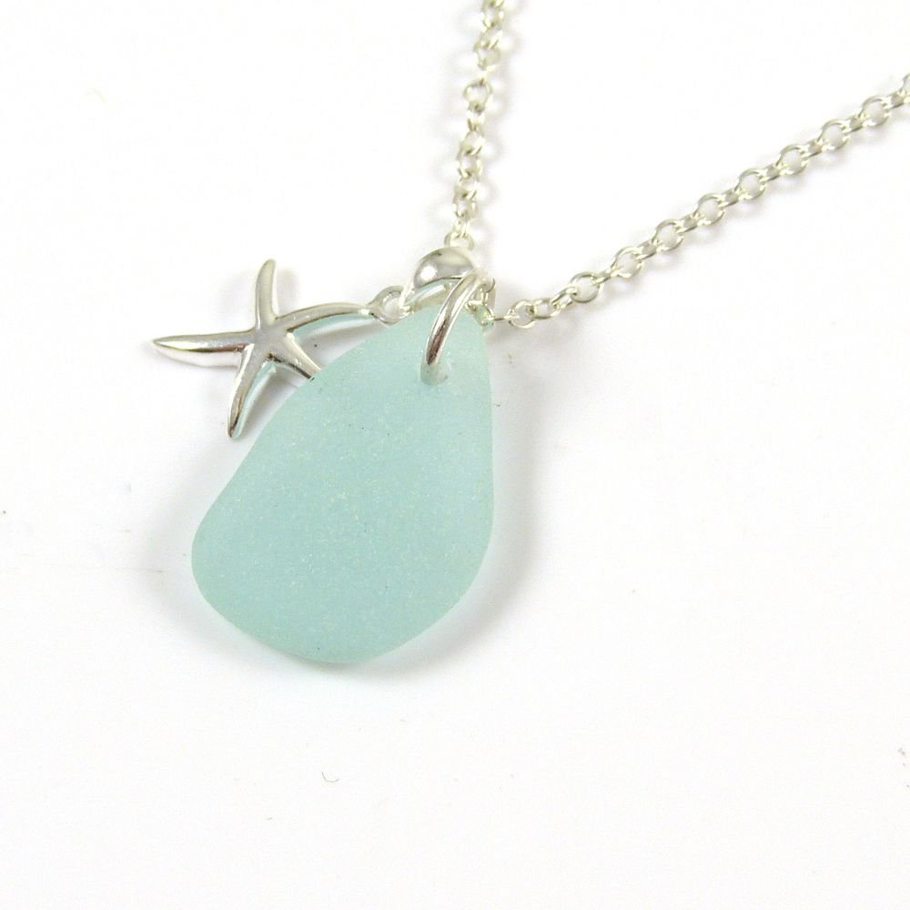 Pale Aquamarine Sea Glass and Sterling Silver Starfish Necklace ch267