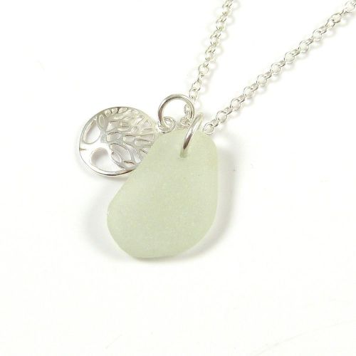 Seamist Sea Glass and Sterling Silver Tree of Life Charm Necklace ch269