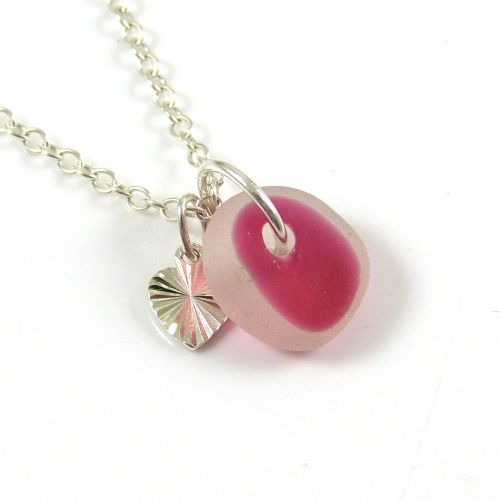 Red and White Sea Glass and Sterling Silver Stripey Heart Necklace ch271