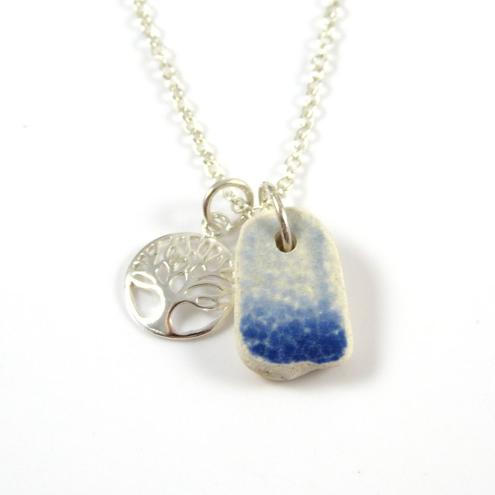 Blue and White Beach Pottery and Sterling Silver Tree of Life Charm Necklac