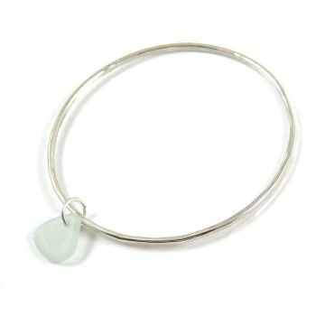Sterling Silver Hammered Bangle and Seaspray Sea Glass Charm b220