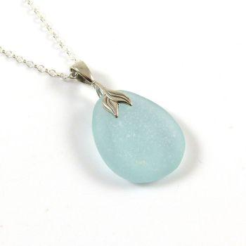 Blue Seafoam Sea Glass Necklace Mermaid JEANNE