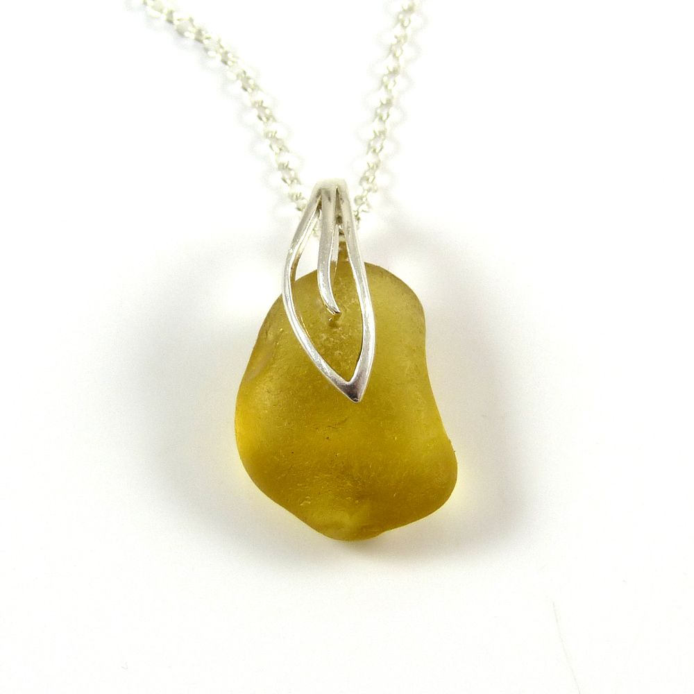 Yellow Gold Sea Glass Necklace MILA