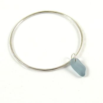 Sterling Silver Hammered Bangle and Steel Blue Sea Glass Charm b224