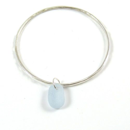 Sterling Silver Hammered Bangle and Powder Blue Sea Glass Charm b223