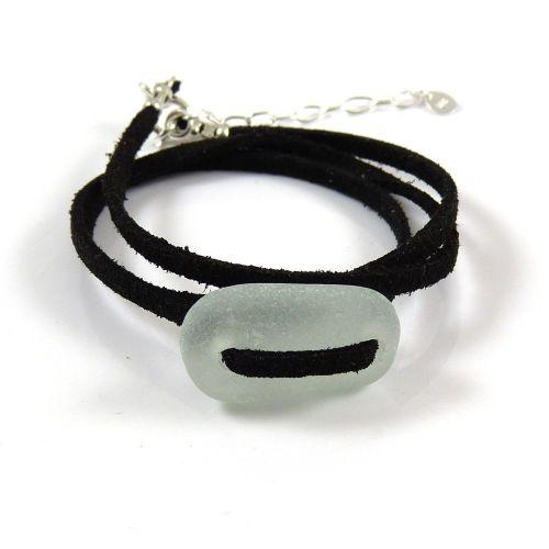 BOHO Adjustable Seafoam Sea Glass Wrap Bracelet