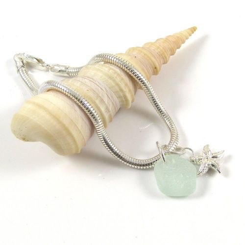 Sterling Silver  Snake Bracelet with Sea Glass and Starfish Charms