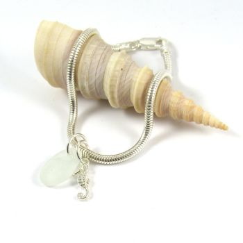 Sterling Silver Snake Bracelet with Sea Glass and Seahorse Charms