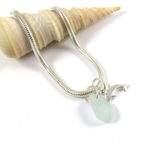 Sterling Silver Snake Bracelet with Sea Glass and Dolphin Charms