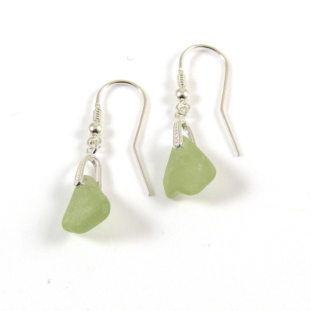 Honeydew Sea Glass Sterling Silver Earrings