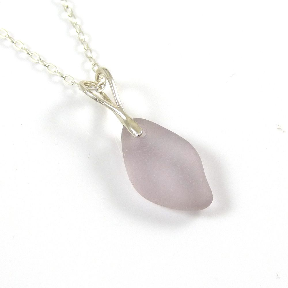 Pale Lavender Sea Glass Necklace LINA