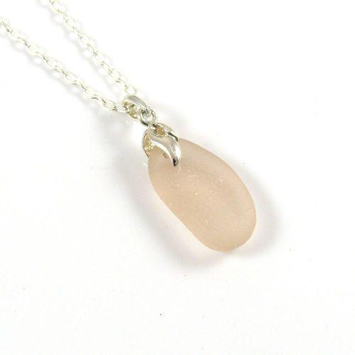 Pale Blush Pink Sea Glass Necklace NINA