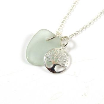 Seaspray Sea Glass and Sterling Silver Tree of Life Charm Necklace c275