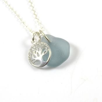 Steel Blue Sea Glass and Sterling Silver Tree of Life Necklace