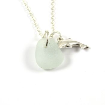 Seaspray Sea Glass and Sterling Silver Dolphin Charm Necklace