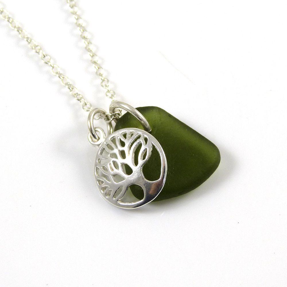 Sea Green Sea Glass, Tree of Life Charm, Sea Glass Necklace
