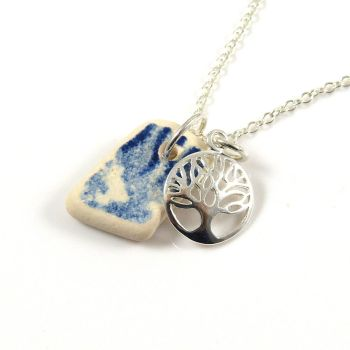 Blue and White Beach Pottery and Sterling Silver Tree of Life Charm Necklace ch277