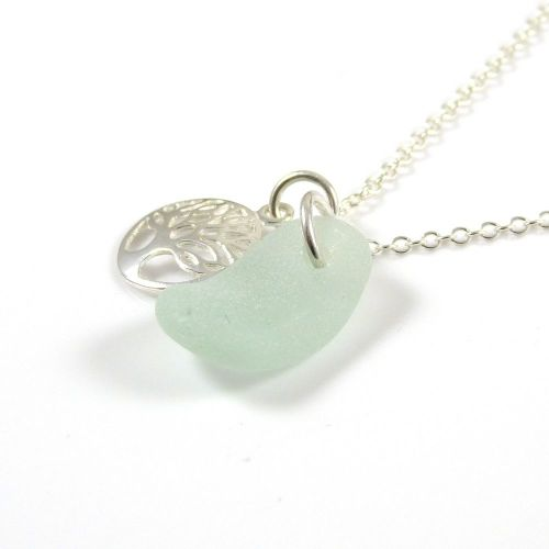 Seafoam Blue Sea Glass and Sterling Silver Tree of Life Necklace c278