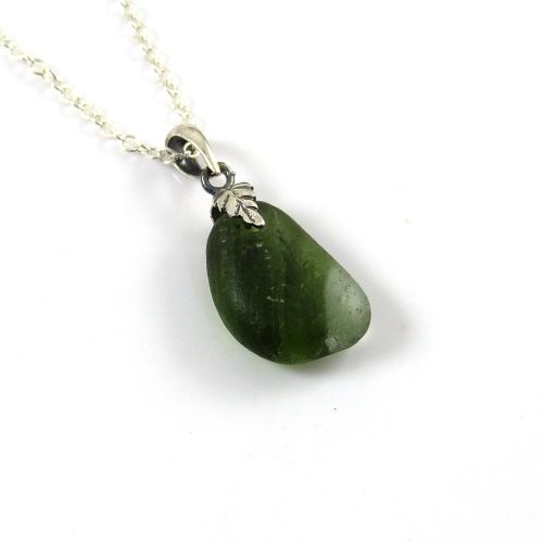 Green End of Day Sea Glass Necklace ZOEY