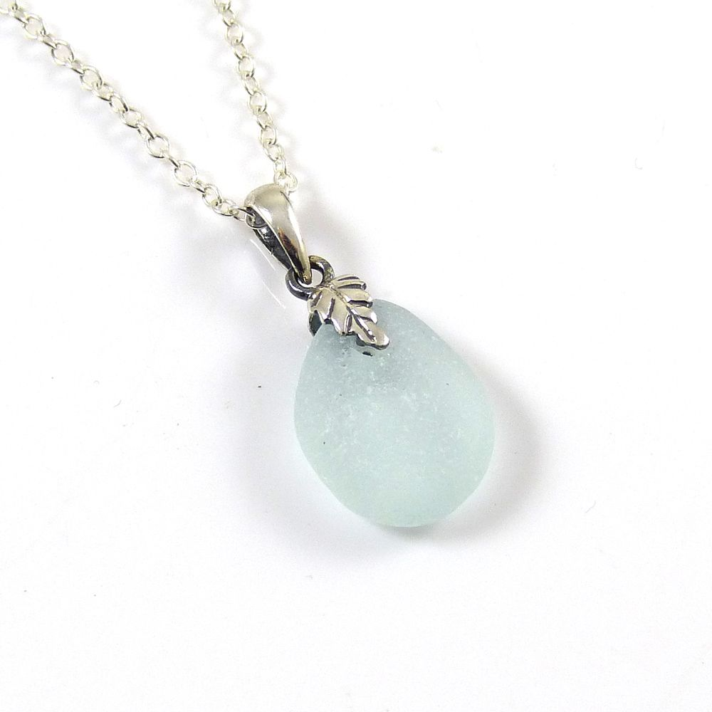 Tiny Pale Aqua Sea Glass and Silver Necklace BONITA
