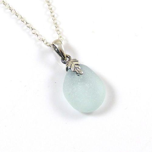 Tiny Pale Aqua Sea Glass and Silver Necklace BONITA