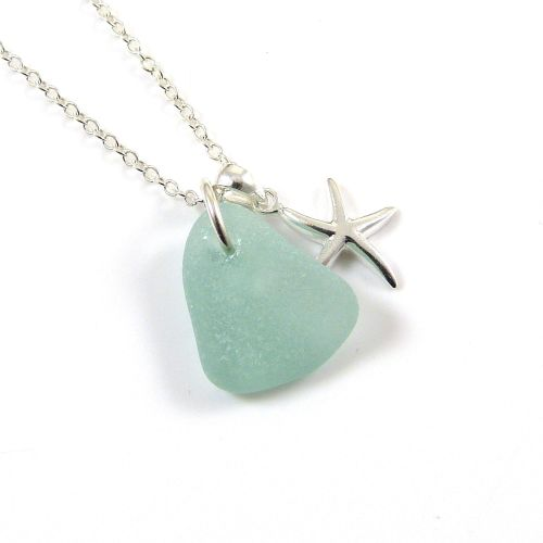 Aquamarine Sea Glass and Sterling Silver Starfish Necklace ch282