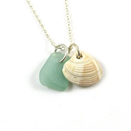 Aquamarine Sea Glass and Seashell Charms Necklace ch283