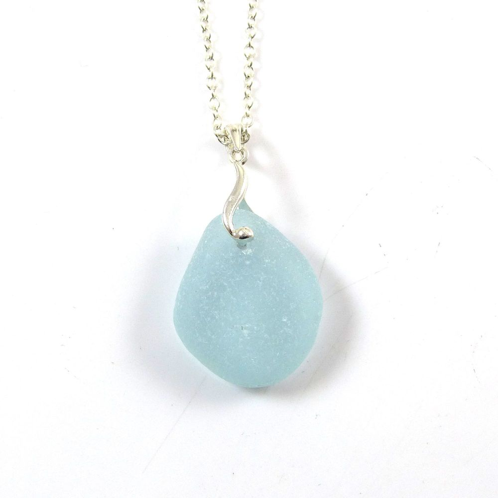 Glacier Blue Sea Glass and Silver Necklace EMMA