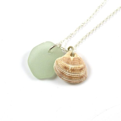 Pale Seafoam Sea Glass and Seashell Charms Necklace ch286