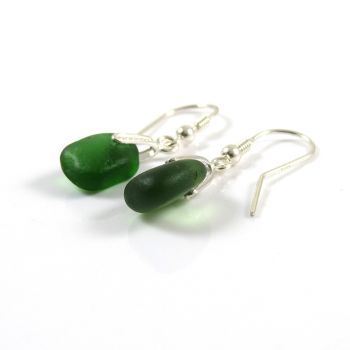 Juniper Green Sea Glass Sterling Silver Drop Earrings e81