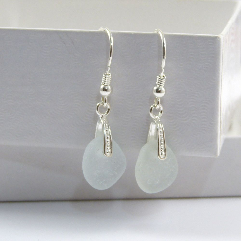 Sea Glass Sterling Silver Drop Earrings e83