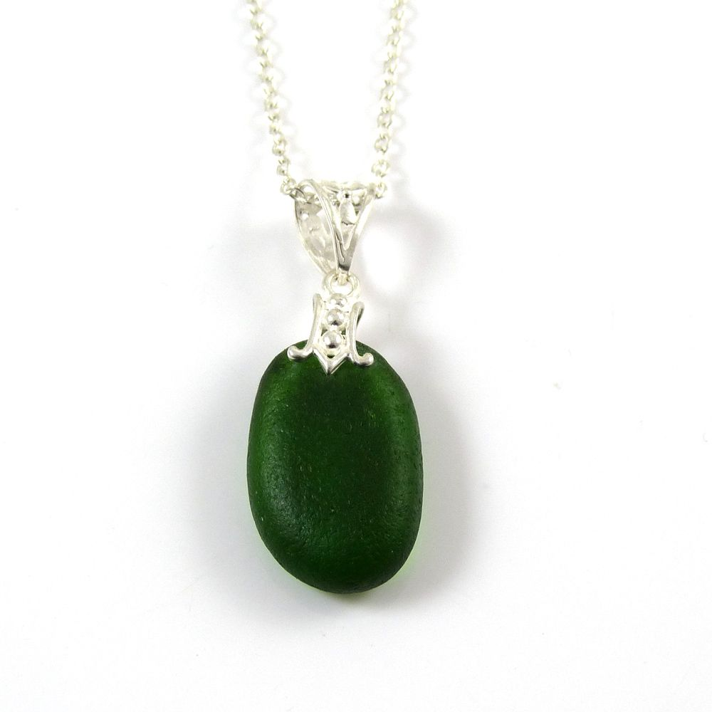 Green Sea Glass Necklace RHODA