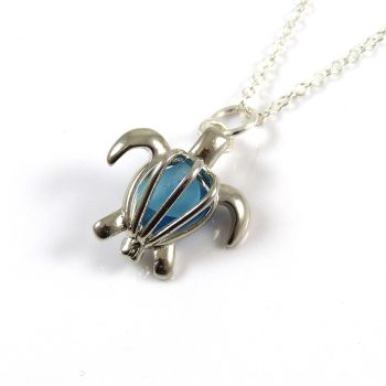 Turtle Locket with Shades of Turquoise Sea Glass L69