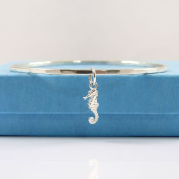 Sterling Silver Hammered Bangle with Seahorse Charm
