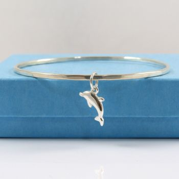 Sterling Silver Hammered Bangle with Dolphin Charm
