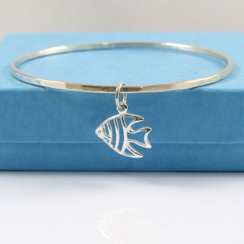 Sterling Silver Hammered Bangle with Fish Charm