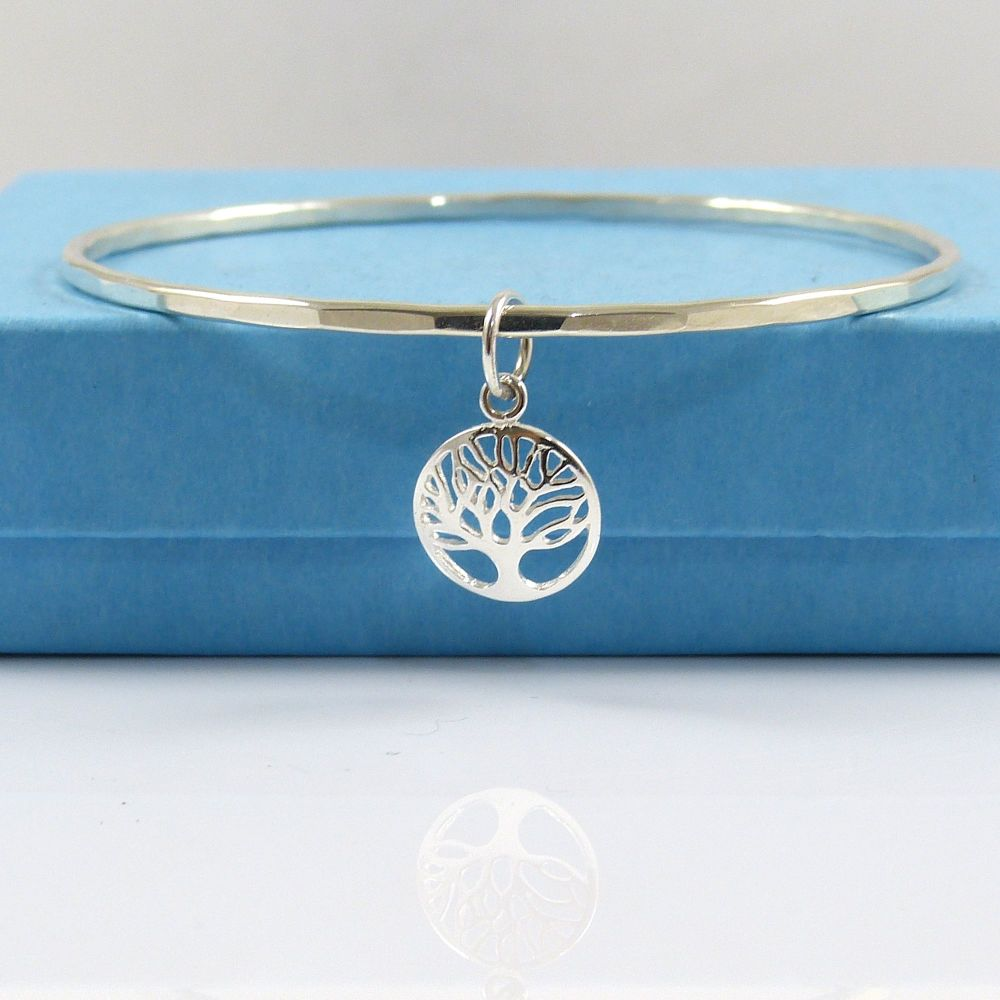 Sterling Silver Hammered Bangle with a Tree of Life Charm